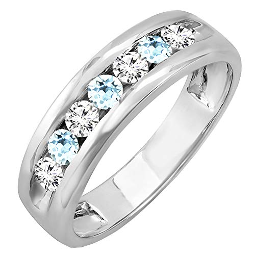 Dazzlingrock Collection Round Aquamarine & White Diamond Men's Fashion Wedding Band, 18K White Gold, Size 10.5