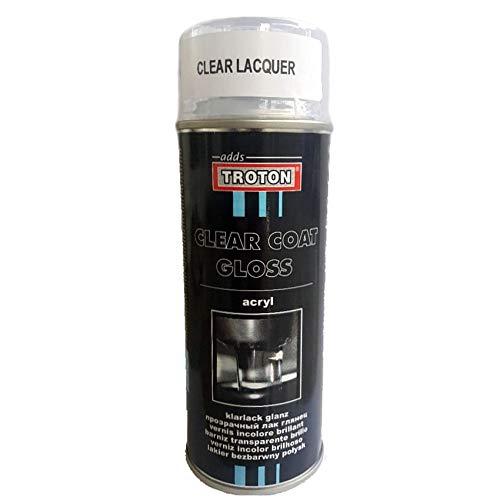 Troton KLARLACK Spray 1 x 400ml Glanz SPRÜHLACK LACKSPRAY Clear Coat AUTOLACK 1K GLÄNZEND SPRAYDOSE Gloss