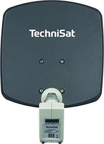 TechniSat DIGIDISH 33 – Satelliten-Schüssel für 2 Teilnehmer (33 cm kleine Sat Anlage - Komplettset mit Wandhalterung und Universal Twin-LNB) grau