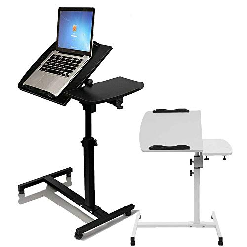 Mobile Computer Workstations, Angle&Height Adjustable Portable Computer Table, Lazy Table Stand Lap Sofa Bed Tray Folding Computer Desk PC Notebook Desk, w/Wheels, White