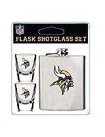Pro Specialties Group NFL Minnesota Vikings Shot Glasses & Brushed Stainless Steel Flask Set