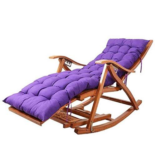 LLSS Sillas de Camping Tumbonas de jardín Silla Plegable Mecedora de bambú Sillón Ajustable, con reposapiés extendido y Tabla de Masaje de pies, para tumbonas de jardín al Air