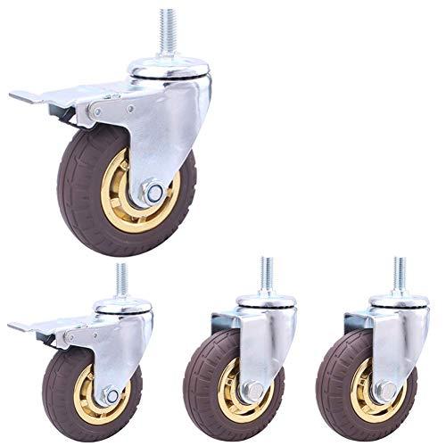 Gewinde M12 Schwerlasträder 3 Zoll / 100 mm pneumatisch Gummi Leise Lenkrollen für Möbel- und Industrietransporte 480kg Lenkrollen zum Wagen Krankenhaus 4 Stück