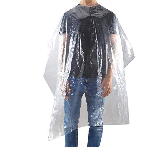 Lot de 100 capes jetables imperméables en plastique pour salon de coiffure