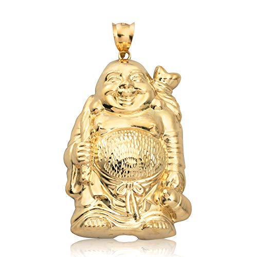 LoveBling 10K Yellow Gold Happy Buddha Diamond Cut Charm Pendant (3.25' x 1.87')