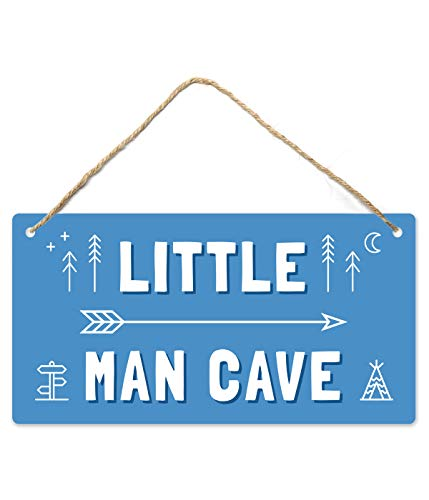 Little Man Cave, Toddler Boy Room Decor, 12″x6″ PVC Plastic Decoration Hanging Sign, High Precision Printing, Water proof, Kids Room Signs For Door, Boy Decor For Bedroom, Boys Only Sign For Room Boys