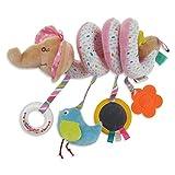 Fliyeong Cama colgante niño multifuncional felpa sonido juguete cochecito bebé bebé bebé animal coche alrededor de la cama con campana espejo de seguridad colgante creativo y útil