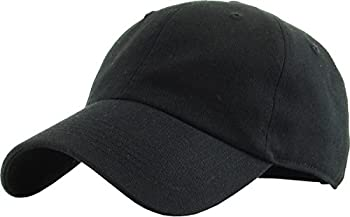 KB-Low BLK Classic Cotton Dad Hat Adjustable Plain Cap Polo Style Low Profile  Unstructured   Classic  Black Adjustable