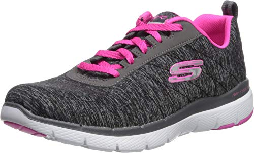 Skechers Women's Flex Appeal 3.0 Sneaker, Black hot Pink, 9 M US