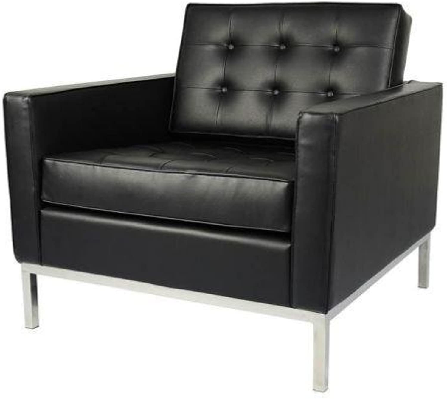 Florence Knoll Replica Armchair Sofa Premium Leather - Black
