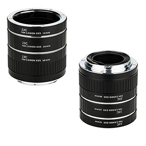 JJC EF & EF-S Mount Auto Focus Extension Tube Set for Canon EOS 90D 80D 70D 60D 77D Rebel T6 T7 T5 T8i T7i T6i T6s T5i T4i SL3 SL2 EOS 6D Mark II 7D Mark II 5D Mark IV III 5Ds R 1Dx Mark III and More