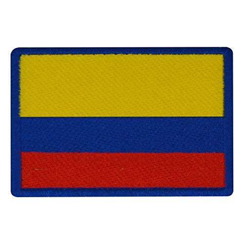 FanShirts4u Aufnäher - KOLUMBIEN - Fahne - 8 x 5,5cm - Bestickt Flagge Patch Badge Wappen Colombia (Blaue Umrandung)