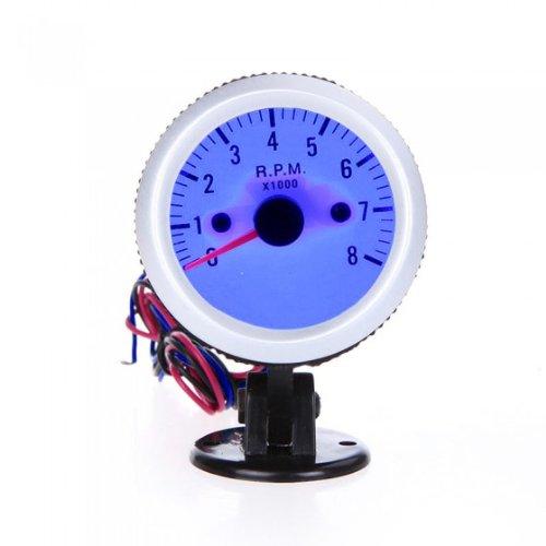 Tacómetro Tach douself taza de gran calibre funda con soporte para coches 5,08 cm 52 mm 0~8000RPM luz LED azul para 4, 6, y 8 rueda de automóviles con motor de plata