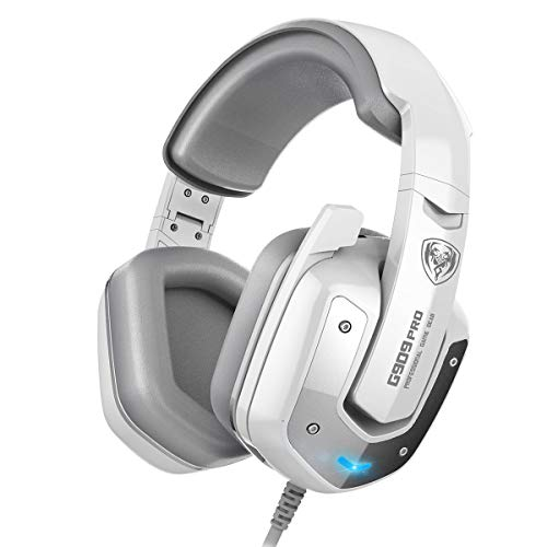 SOMIC G909PRO Gaming Headset,7.1 Virtual Surround Sound USB Over Ear Bass Headphone for PS4,PC with Mic,Volume Control,LED(White)