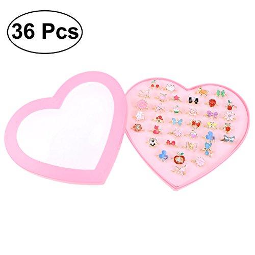 TOYMYTOY Einstellbare Ringe für Kleine Mädchen | Schmuck Ringe mit Herzform Box, 36 Stück