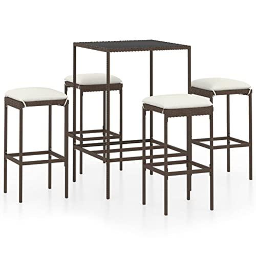 vidaXL Set da giardino da 5 pezzi, con cuscino, tavolino da bar, bancone, tavolo da bar, sgabelli da bar e mobili da giardino in polyrattan marrone