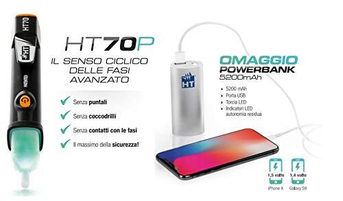 HT70P Promo HT70 + Powerbank 5200 mAh fasemeting Senso cycloonfase spanningsmeting AC 100000V AC, 50/60Hz HR000070