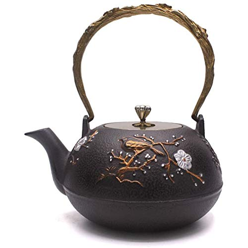 TOWA Workshop Japanese Tetsubin Tea Kettle Cast Iron Teapot for Stovetop Safe Coated with Enameled Interior (1.3L)