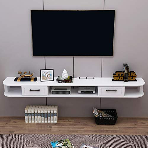 Wall Mounted TV kabinet CD Storage Shelf Drijvende Planken 39-47 Inches Media Console Floating TV Shelf met 3 Independent Storage Units (Color : White, Size : 100cm)