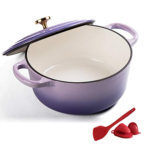 Enameled Cast Iron Covered Dutch Oven, Enameled Dutch Oven with Self Basting Lid, Household Cast Iron Soup Pot - Best Gift (24Cm),Purple