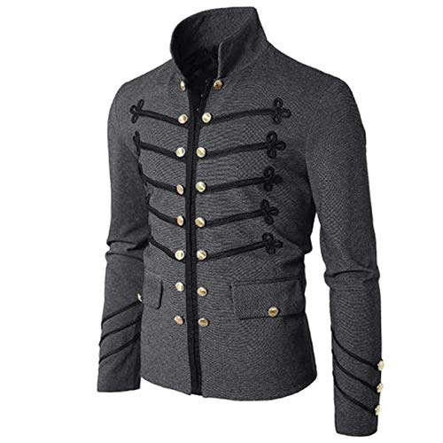 Borje Men's Officer Uniform Military Drummer Parade Jacket Costume Party Outerwear Grey