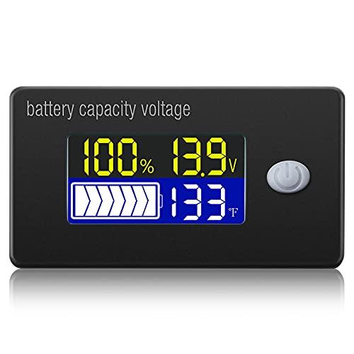 BBTO Medidor de Voltaje de Capacidad de Batería con Alarma y Sensor...