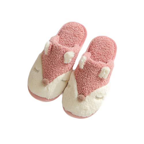 YUTJK Schaum Hausschuhe Weiche Plüsch Fleece Gefüttert rutschfeste Pantoffeln für Drinnen und Draußen,Süße Little Fox Baumwollhausschuhe Damen-Red_3.5/4.5UK