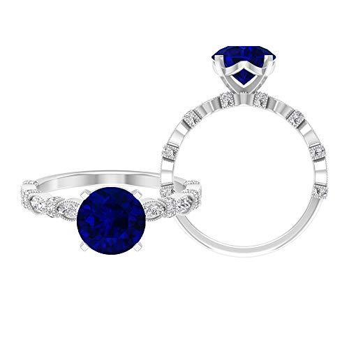 Anillo de compromiso de 8 mm de corte redondo de zafiro azul creado en laboratorio, D-VSSI Moissanite Anillo, anillo solitario de oro macizo con piedras laterales, 14K Oro blanco, Size:EU 44
