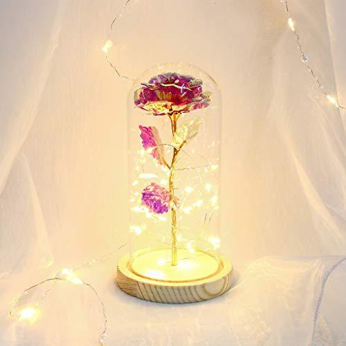 Carolilly - Rosa artificial bajo campana de cristal de La Bella y la Bestia, rosa eterna, noche LED, luz para San Valentín, día de la madre, cumpleaños, I