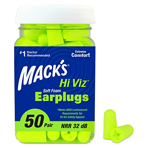 Mack's Hi Viz Soft Foam Earplugs, 50 Pair – Most Visible Color, Easy Compliance Checks, 32dB High NRR – Comfortable, Safe Ear Plugs for Shop Work, Industrial Use, Motor Sports and Shooting