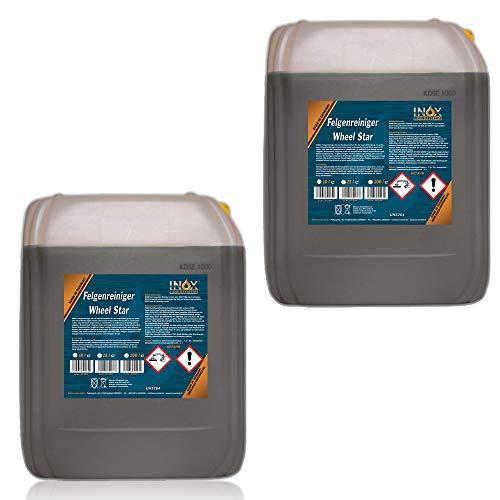 INOX® Felgenreiniger Konzentrat, 2 x 10L - Reiniger für Alufelgen und Stahlfelgen entfernt starke Verschmutzungen wie Flugrost und Bremsstaub