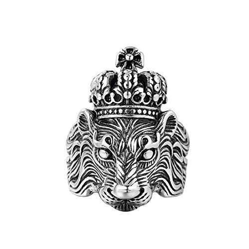 JIAW Men's Ring Crown Lion King Ring Personality Fashion Domineering Index Finger Ring Silver Jewelry Retro Punk Lion Ring,7