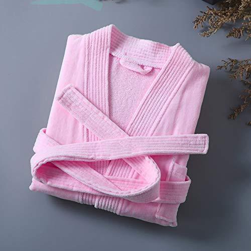 Engpai 100% Algodón Largo Grueso Absorbente Bata de Baño Kimono Hombres Peso Ligero Waffle Toalla Bata Más Ropa de Dormir Mujeres Albornoz M PinkTerryTowel