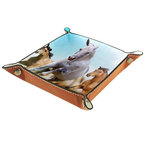 XiangHeFu Ledertablett,Schmucktablett Dekoplatte,Eine Gruppe von Pferden, die in der Wüste Laufen,Leder Tablett,Aufbewahrungstablett für Schmuck Schlüssel Armbanduhr Wohnzimmer Tisch Küche