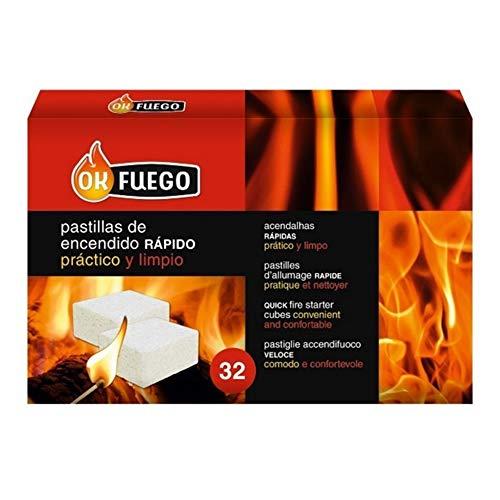 Caja 32 pastillas para encender fuego rápido y limpio leña y carbón