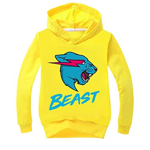 Mr Beast Merch - Sudadera con capucha para niños, amarillo, 5-6 Años