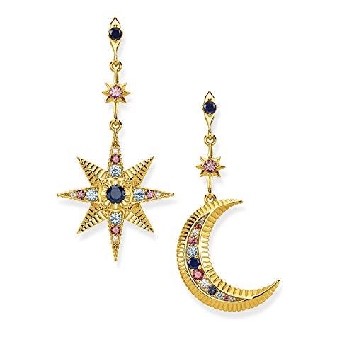 THOMAS SABO Damen-Ohrstecker Stern Mond 925 Sterling Silber vergoldet H2025-959-7