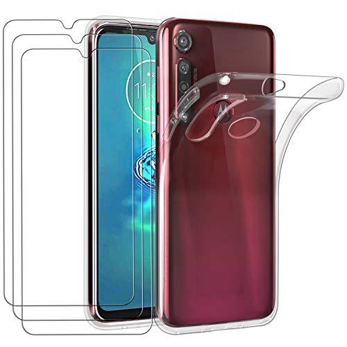 ivoler Hülle für Motorola Moto G8 Plus, mit 3 Stück Panzerglas Schutzfolie, Dünne Weiche TPU Silikon Transparent Stoßfest Schutzhülle Durchsichtige Handyhülle Kratzfest Hülle
