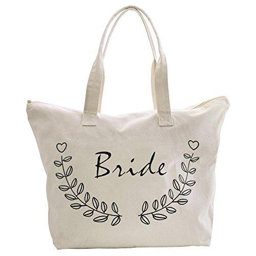 ElegantPark Bride Tote Bag for Wedding Bridal Shower Gifts Zip Canvas Cotton
