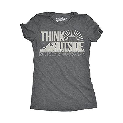 Womens Think Outside No Box Necessary Funny Cool Camping Graphic Funny T Shirt (Dark Heather Grey) - L