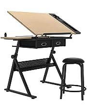 DlandHome Houten verstelbare tekentafel ambachtelijke tafel tekenbureau met kruk Hobby tafel schrijfbureau Studio Bureau met laden,CZKLD-026