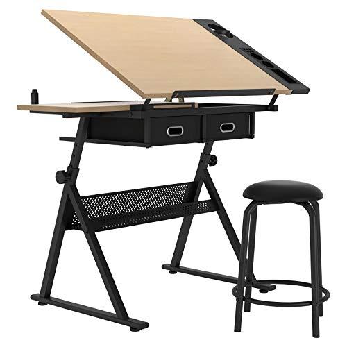 DlandHome Table à Dessin/pupitre avec Tabouret, Bureau à Dessin Professionnel Plateau inclinable réglable en Hauteur pour Maison et Bureau LD-026