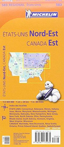 Michelin Usa: Northeast, Canada: East Map 583 (Michelin Regional Maps) [Idioma Inglés]