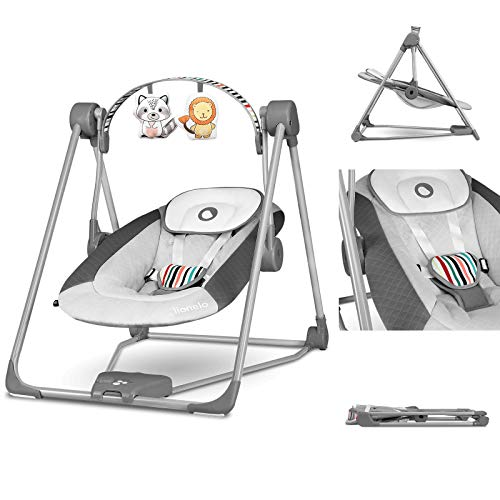 Lionelo Otto sdraietta dondolo musicale 5 velocità comodo e portabile con timer arco giochi e cuscino per la testa fino 9kg silenzioso cinture a 5 punti, grigio
