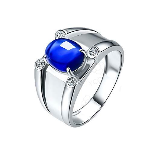 YCGEMS Classic 18-karaats witgouden ring, 3,08 ct echt saffier verlovingsring voor mannen