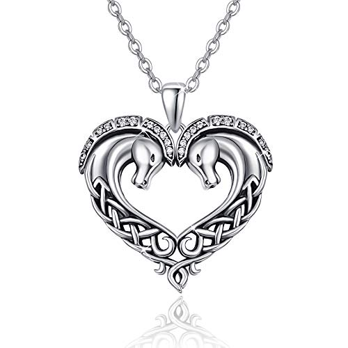 Horse Necklace 925 Sterling Silver Celtic Horse Necklace Heart Shape Horse Pendant Jewelry Gifts for Horse Lover Teen Girls Women