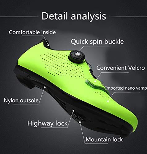 EDOSTORY Unisex Camino De Bloqueo Zapato Taco De Zapato De Bicicleta MTB Camino De La Bicicleta, Zapatos Transpirables La Rotación En Bicicleta, A Caballo Adecuado para El Senderismo,Blanco,41EU