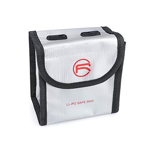 Linghuang Bolsa Resistente al Fuego de la Batería Lipo a Prueba de Explosiones para DJI FPV Bolsa de Almacenamiento de Batería Li-po Drone Ignífugo (para 2 Baterías)