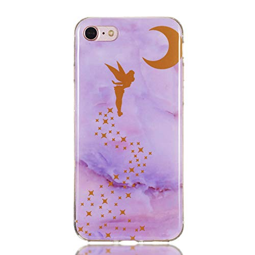 SEYCPHE Funda Silicona iPhone 7, Cascara Ultrafina Suave Cover Protectora Mármol, iPhone 7 Case Anti-Rasguño y Resistente Huellas - Hada púrpura