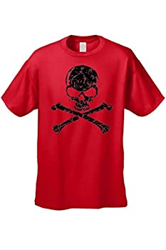 Men s/Unisex Biker Skull Head with Cross Bones RED Short Sleeve T-shirt  Large